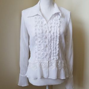 NWOT- Ruffle Lace Button Down Long Sleeve Top